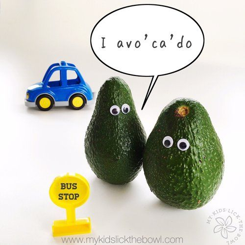 """Funny Food Puns Avocado """" I have a car though""""  www.mykidslickthebowl.com where food is fun!"""