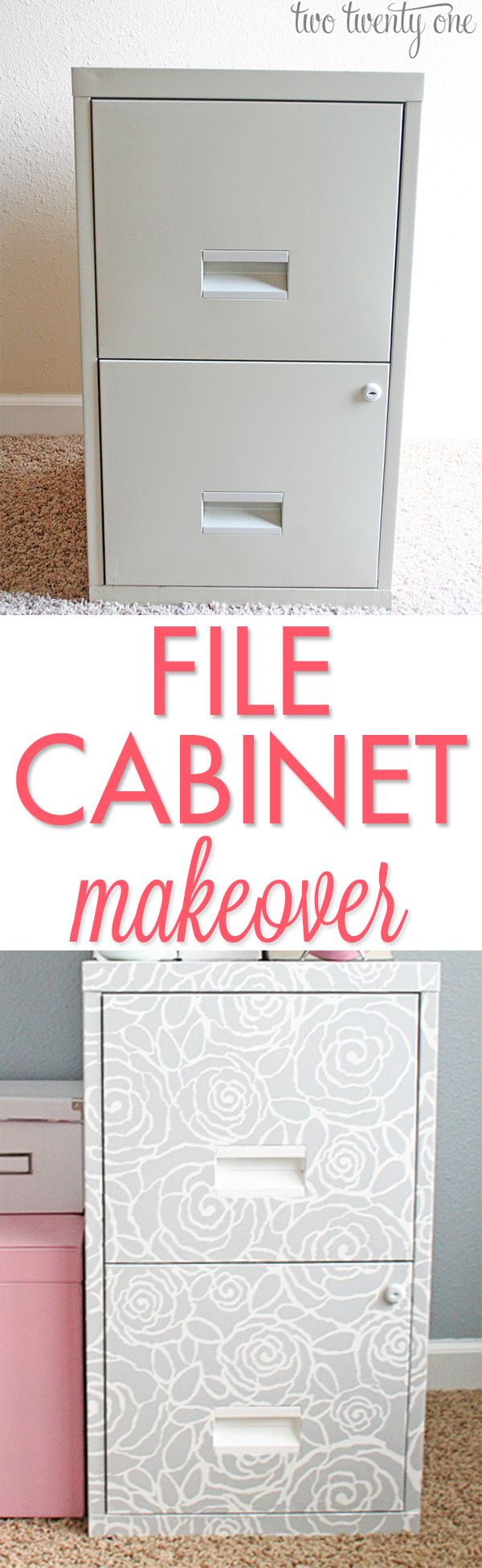Drab to fab! File cabinet makeover! Pinned by Suzanna Kaye Home Organizer For more organizing tips, articles and ideas visit www.ASpaceThatWorks.com/blog or follow at www.facebook.com/SuzannaHomeOrganizer #organize #home