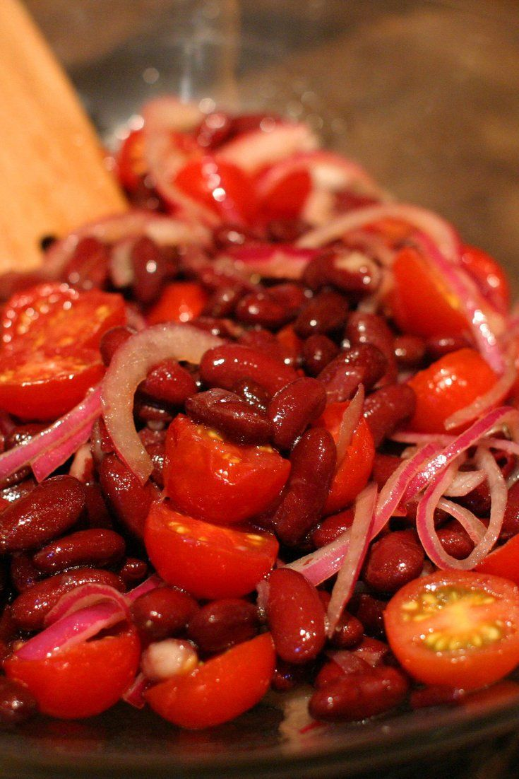 Kidney Bean, Red Onion And Tomato Salad This recipe is by Nigella Lawson and takes 10 minutes. Tell us what you think of it at The New York Times - Dining - Food.