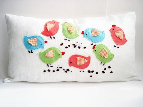 I mean seriously, how stinkin' cute is this? http://www.etsy.com/listing/68044560/birds-pillow-cover-12x20 @Jane Curtis Etsy have you seen this shop? SO CUTE!