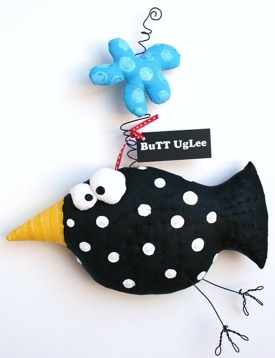Bird named Olive with bouncing blue cloud by buttuglee on Etsy