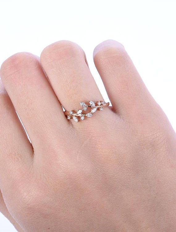 Rose gold engagement ring Diamond Cluster ring Unique moissanite Delicate leaf wedding women Bridal set Promise Anniversary Gift for her – Pau Fuentes Taladriz