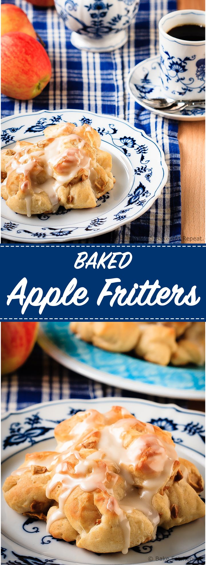 These baked apple fritters are easy to make and taste amazing - soft, tender, cinnamon spiced dough studded with apples and drizzled with a vanilla glaze.