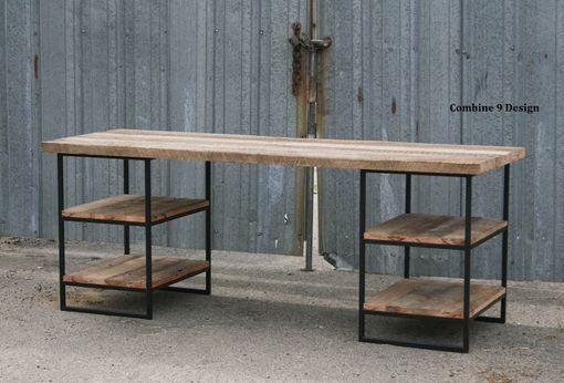 Custom Made Reclaimed Wood (Oak) Desk With Shelves. Steel. Custom Dimensions/Configurations.