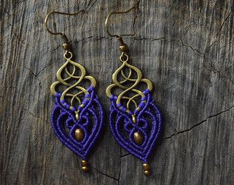 Macrame earrings with brass beads by IndigoMacrame on Etsy