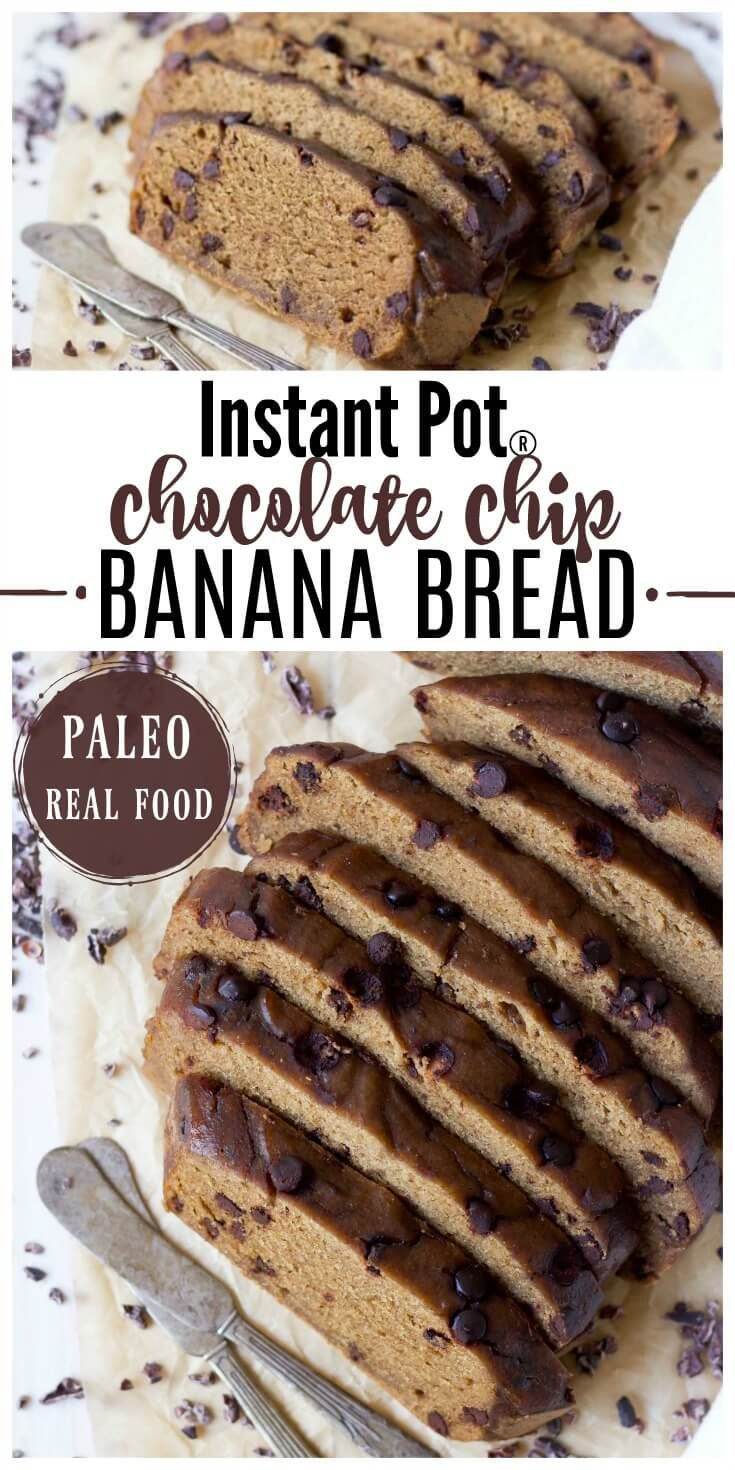 Instant Pot Paleo Chocolate Chip Banana Bread is so easy to make! This classic, healthier, protein-rich breakfast or snacking bread has the best soft texture, it's packed with banana flavor, lots of chocolaty goodness, and made with no refined sugar. | Recipes to Nourish // Gluten Free | Grain Free | Healthy | Primal | Cassava Flour via @recipes2nourish