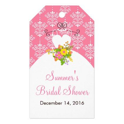 Summer Pink Damask Wedding Dress Bridal Shower Gift Tags - personalize gift idea special custom diy or cyo