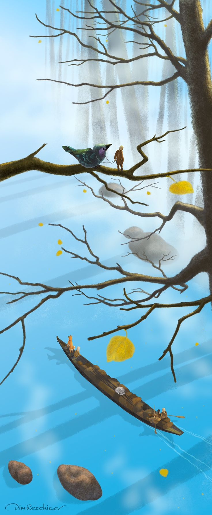 Downstream  Вниз по течению  art • russian • illustration • calendar • drawing • artist • illustrator • fantasy