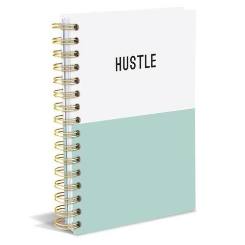 HUSTLE Dipped Hard Cover Journal in Mint and White -available at the Get Bullish shop