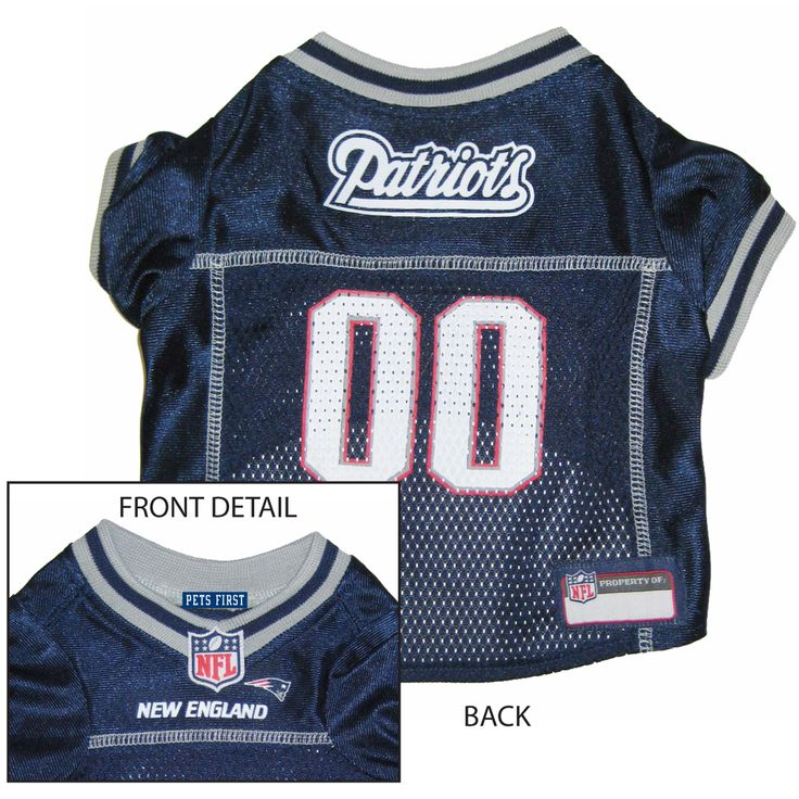 Collar Planet - New England Patriots NFL Licensed Pet Dog Football Jersey (http://www.collarplanetonline.com/new-england-patriots-nfl-licensed-pet-dog-football-jersey/) Get ready for some football! Show support for the New England Patriots with this great looking football dog jersey which features a screened-on city name and a small team logo on the front.