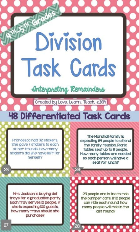 Do your students need help interpreting remainders in division word problems? Click to see 48 easy-to-use, print-and-go task cards - coordinated for easy differentiation. Assign different tasks to students based on their needs. Includes 1 page of blank cards. Common core-aligned, perfect for 4th/5th grades.