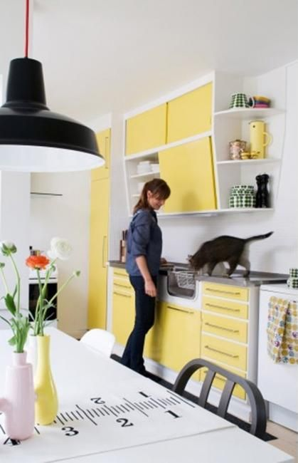 light yellow and green colors for modern interior design