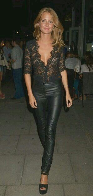 Obsessed with this look, leather and lace....the top may be a little low thoooooo