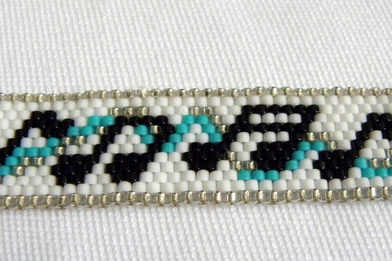 Ribbon of Music Notes Peyote Stitch Bracelet by galaxyofglitter, $25.00