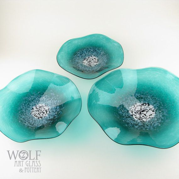 MADE TO ORDER Blown Glass Wall Art Poppy Flower Teal Turquoise Glass Sculpture…