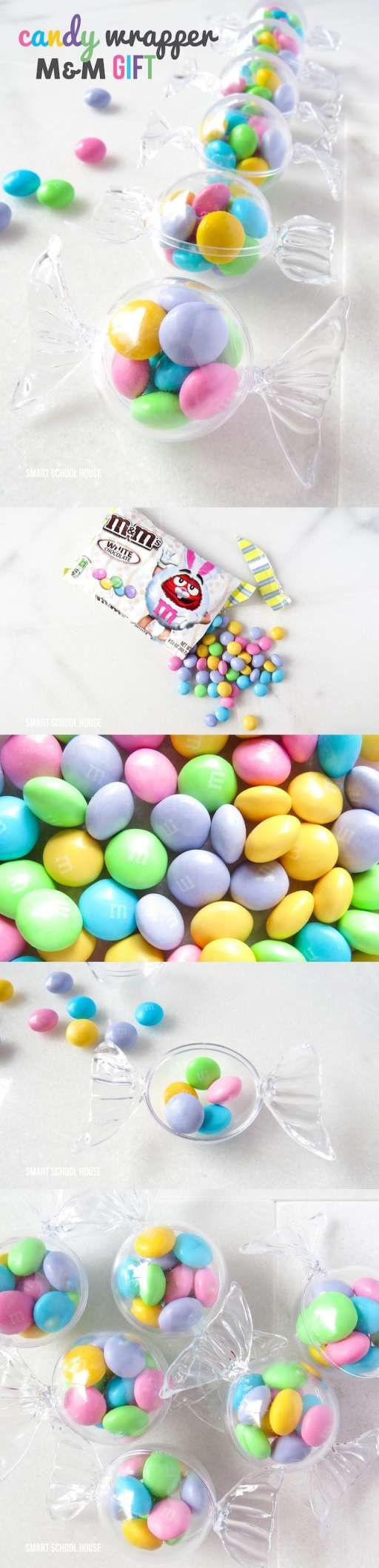 Candy wrapper M&M gift or party favor! Made with white chocolate M&Ms and plastic candy wrapper containers (see where to find them here)