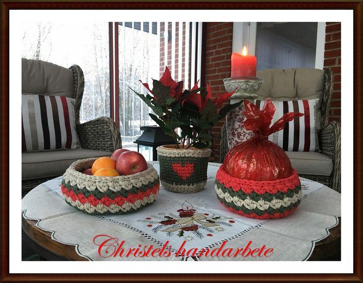 Virkade julkorgar, Crochet christmas baskets