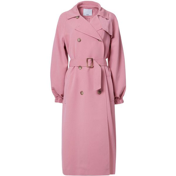 Tibi Pitaya Pink Drape Twill Trench Coat (48,135 INR) ❤ liked on Polyvore featuring outerwear, coats, pitaya pink, pink trenchcoat, tibi coat, pink double breasted coat, twill coat and double-breasted coat
