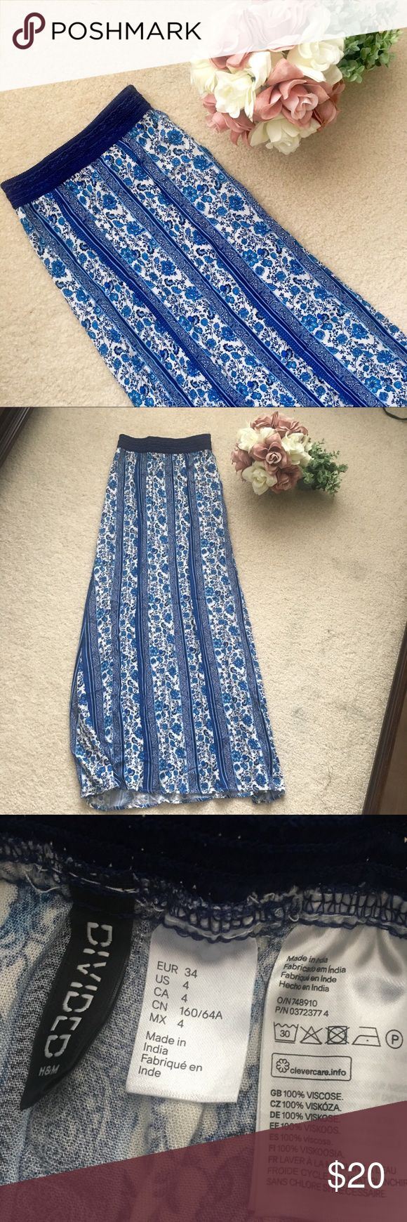 H&M Blue Floral Summer Maxi Skirt Maxi skirt with no slits. Size 4 but fits like a XXS. Rich blue color. H&M Skirts Maxi