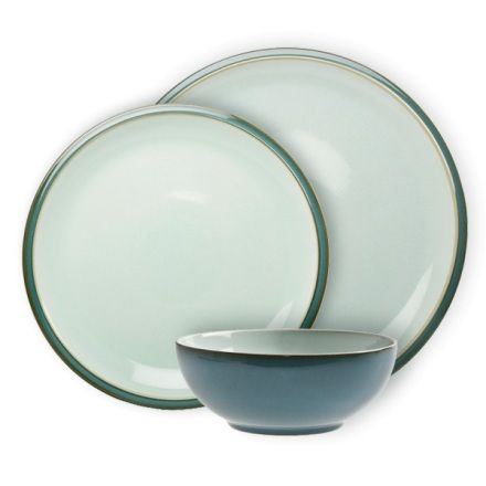 """* Denby """"Everyday Teal"""" 12 Piece Dinner Set (4 Place Settings of 3 Pcs)"""