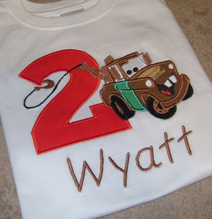 Tow Mater Cars Applique Birthday Shirt Embroidery. $25.00, via Etsy.