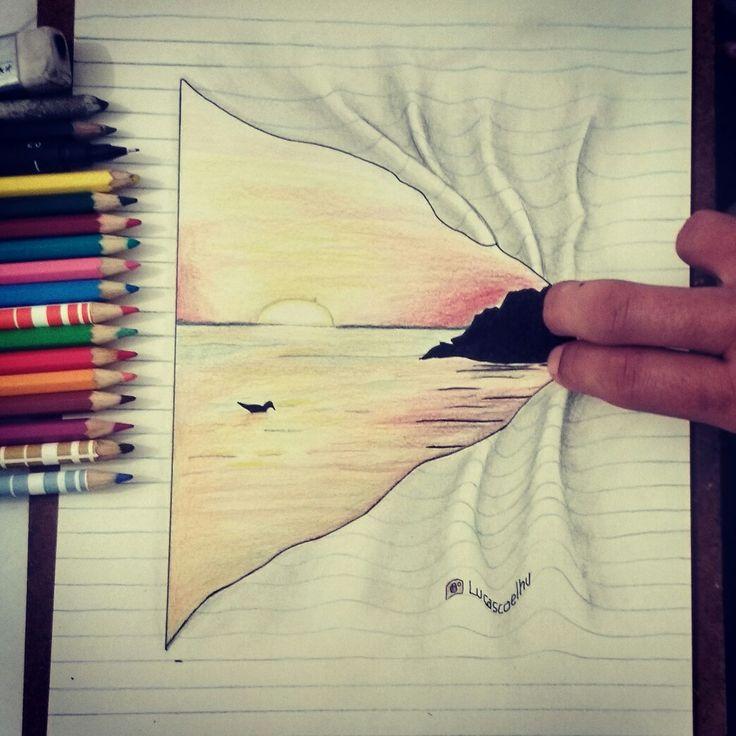Sei lá, tem sempre um pôr-do-sol esperando para ser visto.'🍃 _Caio Fernando Abreu . . #desenhos #drawing #desenhododia #art #instaart #pordosol #fabercastel #lapis #colorido #3d #papel #instabump #tumblr #a4