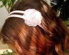 Tiara rosa bebê c/ pérolas,strass & flor