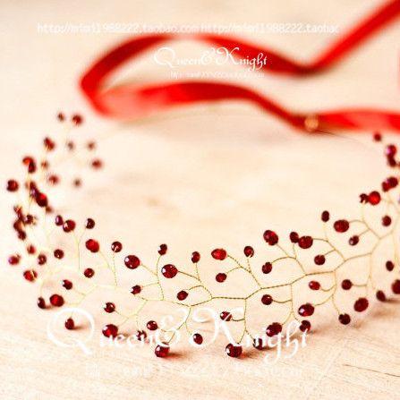 Handmade на заказ свадебные аксессуары головной убор волосы ленты для волос в Европе и Америке красивый красный кристалл гирлянды оголовье - Taobao