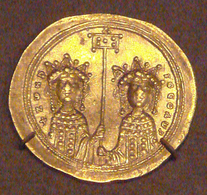 GoldHistamenonZoeAndTheodora1042 - Zoé Porfirogênita – Wikipédia, a enciclopédia livre