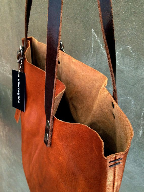 Listo para enviar la bolsa de cuero italiano / Carry-all tote / vuelta superior bolsa vendimia detalles ejército / color coñac