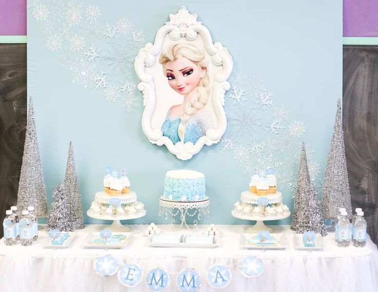 I'm so in love with this fabulous Frozen Birthday Party. How pretty is that backdrop?! See more party ideas at CatchMyParty.com