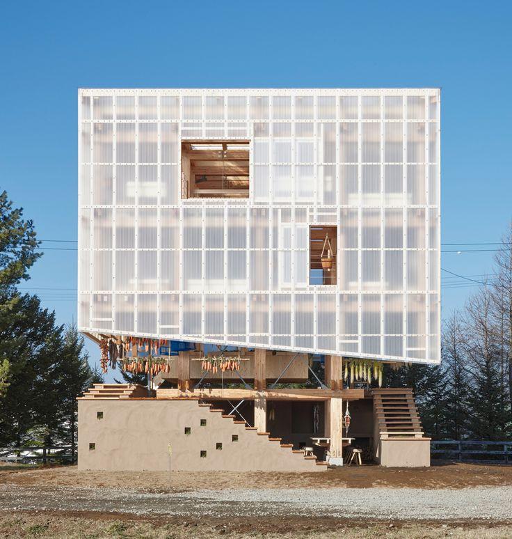 Translucent polycarbonate on composite timber frame Earth walls form base  Nest We Grow KENGO KUMA ARCHITECT\ Shinkenchiku-sha