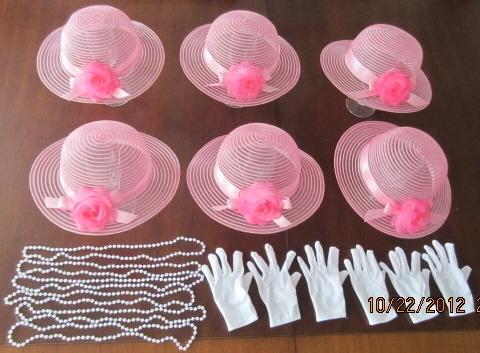 6 Children's Dress Up Tea Party Hats Gloves Pearls Favors Kids Girls Candy Pink | eBay