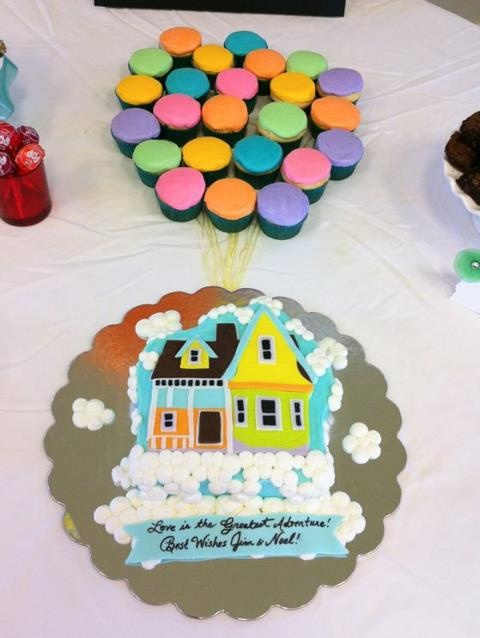 Disney Pixar Up house cake with cupcake balloons for Up themed bridal shower.