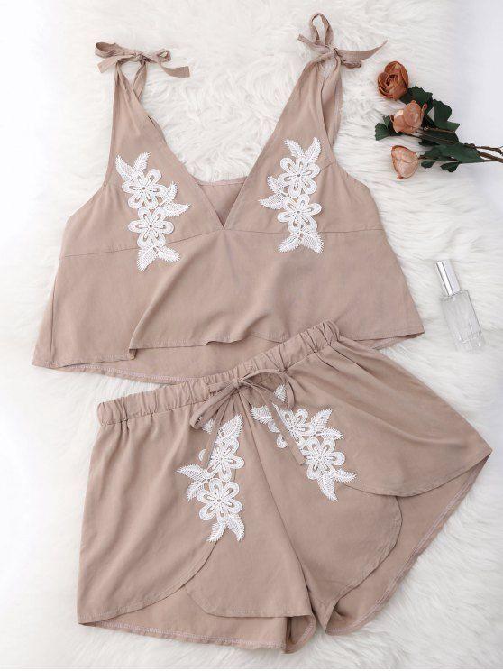 $11.99 Drawstring Lace Applique Loungewear Suit - NUDE M