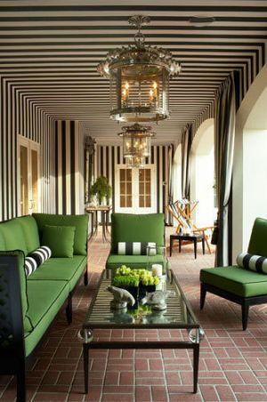 Green home decorating - myLusciousLife.com - green black and white verandah lounge area.jpg