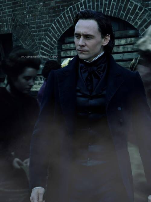 Tom Hiddleston in Crimson Peak, dressed as if he were auditioning to be the hero of my next historical gothic novel.