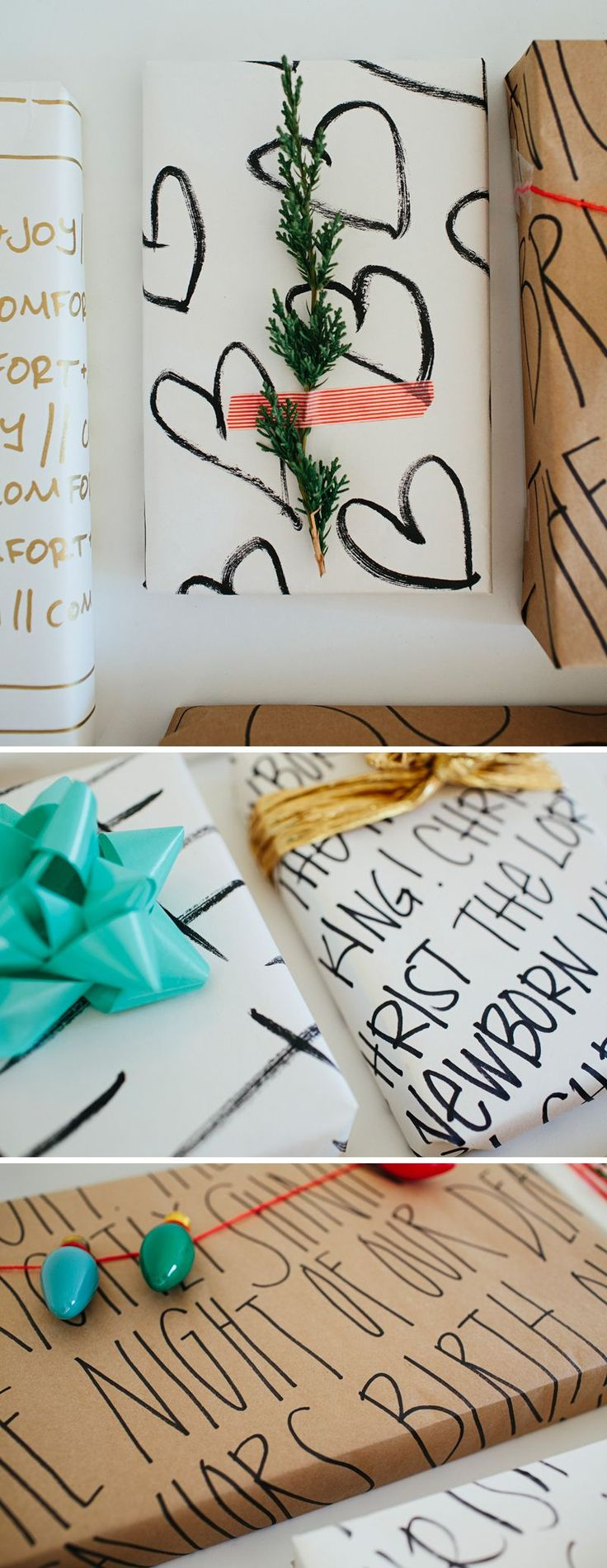 Inspirational  DIY Wrapping Paper // DIY Christmas- walk in love....the Christmas lights caught my eye...in red on black and white sheet music would be aDORABLE