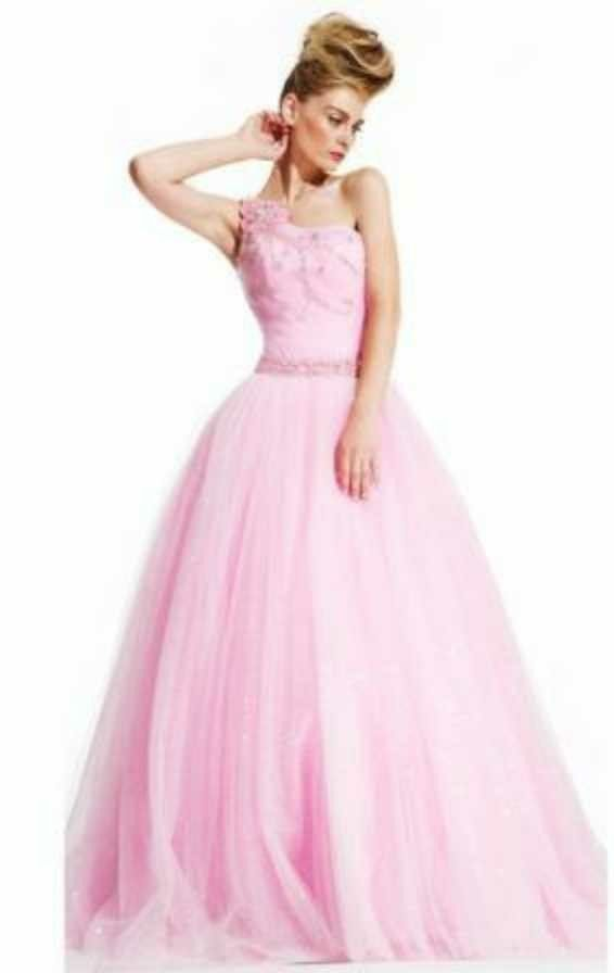 eb74cbeda515d Particular Pink Floor-length One Shoulder Empire Prom Dresses. Ball Gowns  Prom, Pageant Gowns, Formal Dresses Uk, Prom Dresses 2018, Wedding