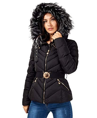 0da3cde76 Ladies Womens Chevron Quilted Puffer Bubble Padded Belted Chunky ...