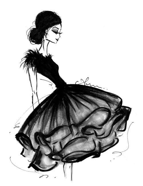 Fashion Illustration Print Frilly Skirt by anumt on Etsy, $23.00