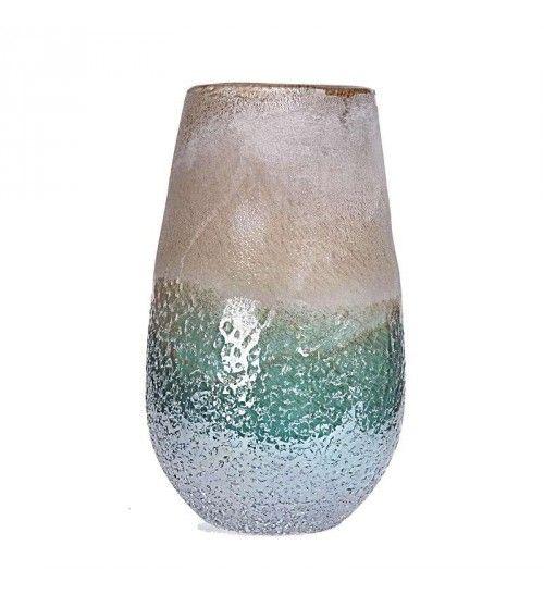 GLASS VASE IN BROWN-BLUE COLOR 13Χ8_5Χ30