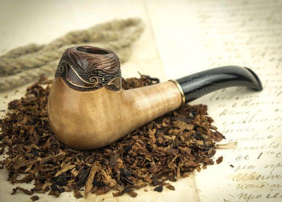 """Smoking Pipe """"Sadko''. Wood carved smoking pipe. Tobacco Pipes. Wooden Pipe…"""