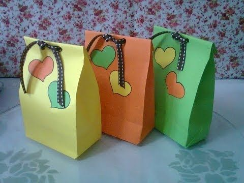 DIY : #1 Cute Paper Bags For Gift ♥ - YouTube