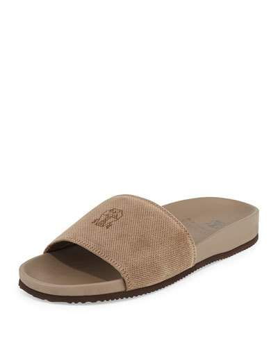 Brunello+Cucinelli+Perforated+Suede+Slide+Sandals+Beige+|+Shoes+and+Footwear