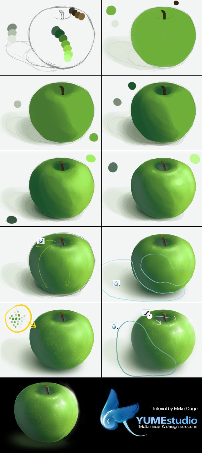 Create Realistic Green Apple - Digital Drawing Photoshop Tutorial