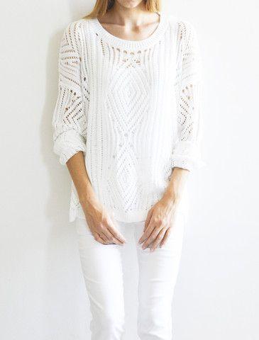 Chunky knit - White – Amble & Thorn