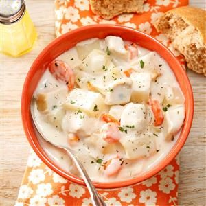 Cream Cheese Chicken Soup Recipe -After tasting a similar soup in a restaurant, I went home and cooked up my own version. It's so soothing on a winter evening served with crusty French bread. For a change of pace, try substituting ham or turkey for the chicken. —Kathleen Rappleye, Mesa, Arizona
