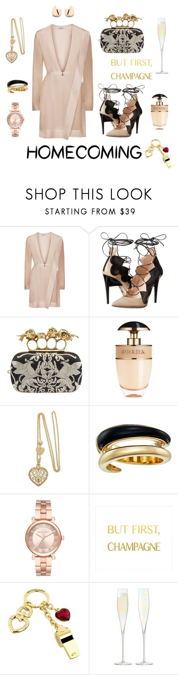 """Champagne Homecoming"" by hackneygirl ❤ liked on Polyvore featuring Ruthie Davis, Alexander McQueen, Prada, Michael Kors, Juicy Couture and LSA International"