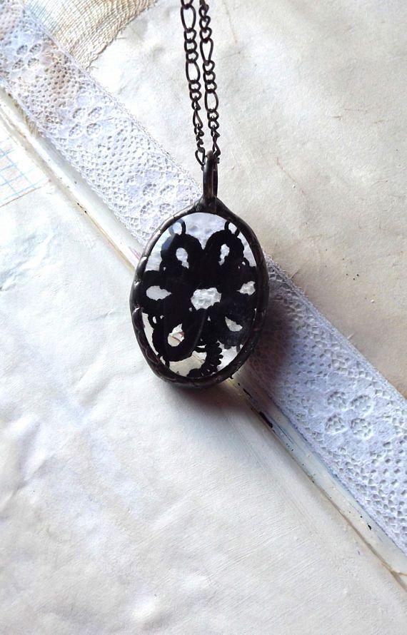 Black pendant. Pendant tatting Black Jewelry Black Necklace